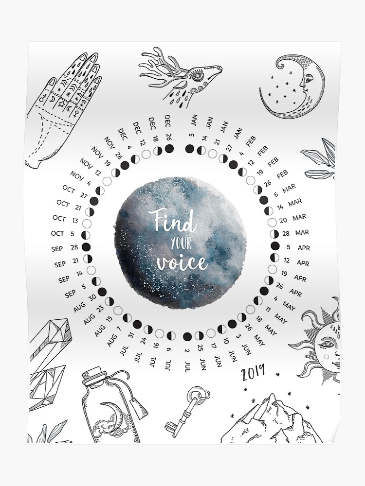 2019 Moon Phases Calendar, Moon Names, Full Moon, New Moon | Poster