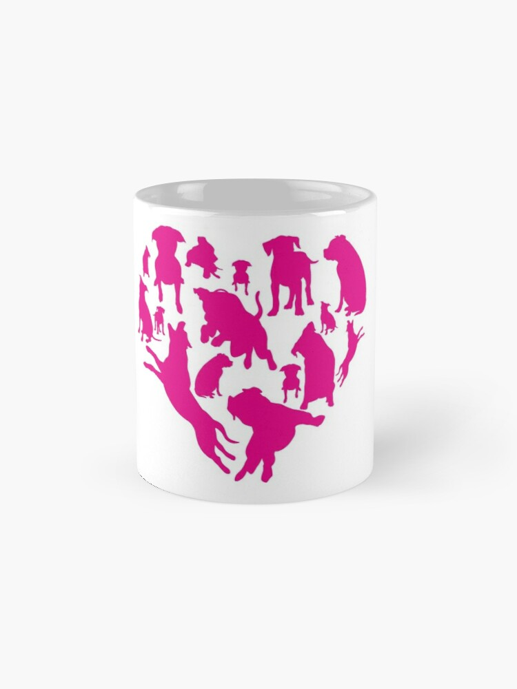 'Heart With Pitbulls T-Shirt: Funny Valentine's Day Gift For dog Lovers' Mug by Dogvills