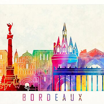Bordeaux landmarks watercolor poster by paulrommer
