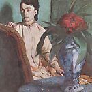 Edgar Degas French Impressionism Oil Painting Woman Sitting at Table with Flowers by jnniepce