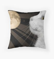 The Cat with the Moon and Stars in His Eyes Throw Pillow