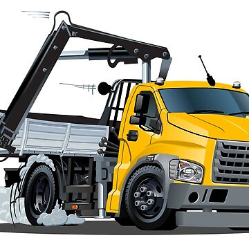 Cartoon Lkw Truck with Crane isolated by Mechanick