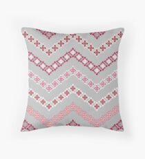 Flower Chevron in Grey, Pink and White Floor Pillow