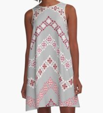 Flower Chevron in Grey, Pink and White A-Line Dress