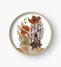 Poppy ikebana botanical print #2 Clock