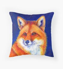 Colorful Red Fox Portrait Throw Pillow
