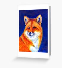 Colorful Red Fox Portrait Greeting Card