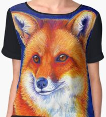 Colorful Red Fox Portrait Chiffon Top