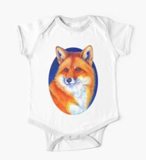 Colorful Red Fox Portrait One Piece - Short Sleeve
