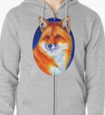 Colorful Red Fox Portrait Zipped Hoodie
