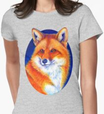 Colorful Red Fox Portrait Women's Fitted T-Shirt