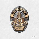 Los Angeles Police Department - LAPD Detective Badge over White Leather by Serge Averbukh