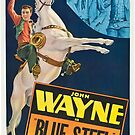 Vintage Hollywood Nostalgia Blue Steel John Wayne Film Movie Advertisement Poster by jnniepce