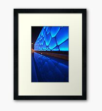 Blue water building Framed Print