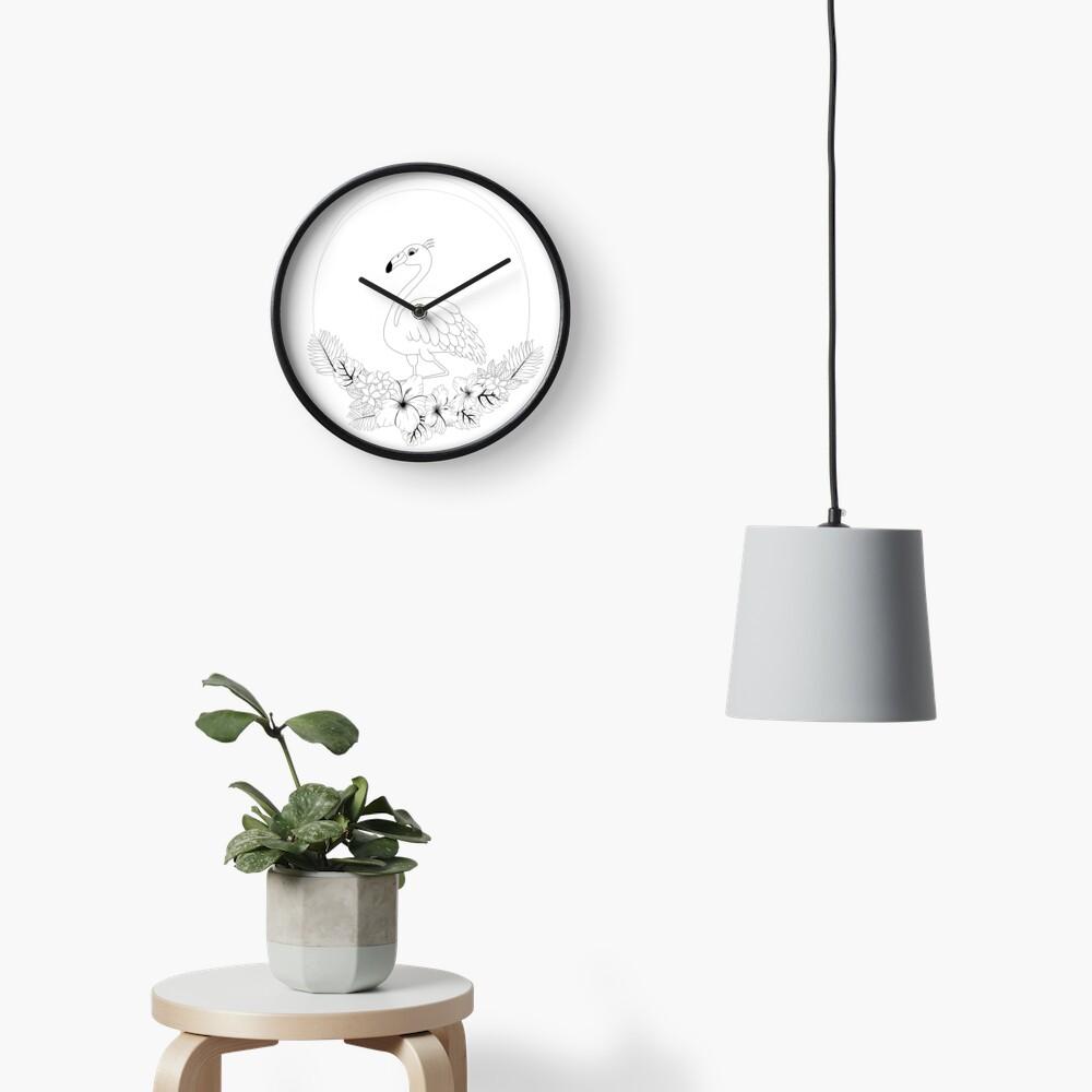 Just add Colour - Tropical Flamingo Clock