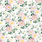pink and white rose pattern  by ColorandColor