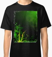 Abstract Digital Green Leaves Background Classic T-Shirt