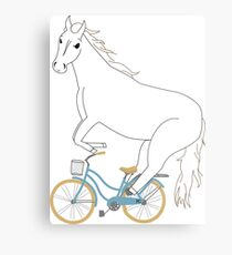 horse on a bicycle Metal Print