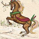 Holiday Horse Unicorn Reindeer Brown Tan Winter Yule by Stephanie Small