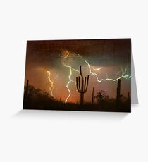 Arizona Saguaro Lightning Storm Print Greeting Card
