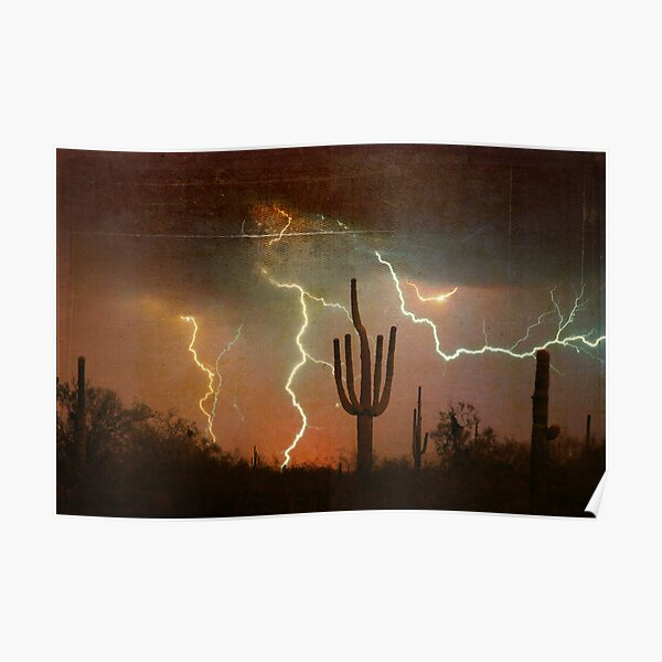 Arizona Saguaro Lightning Storm Print Poster