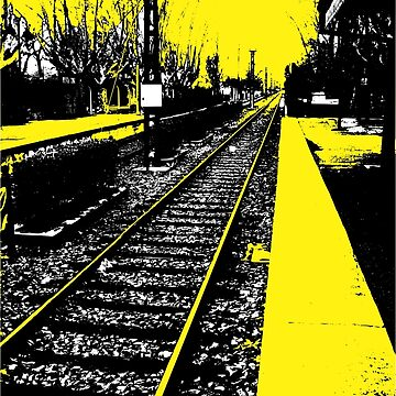 Train Station - Yellow Train Rail  by kazumaoski