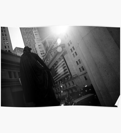 New York Wall Street & Stock Exchange 3 Black and White Poster