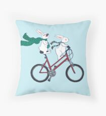 biking bunnies  Throw Pillow