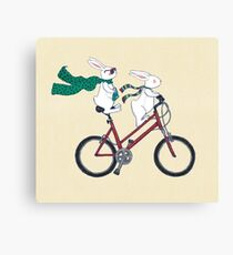 biking bunnies  Canvas Print