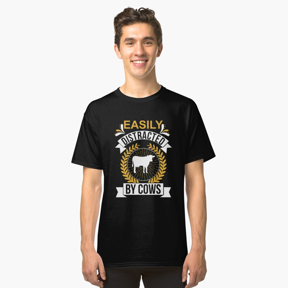 5bed9a7c Funny Cow Farmer Tee | Easily Distracted By Cows T Shirt Men