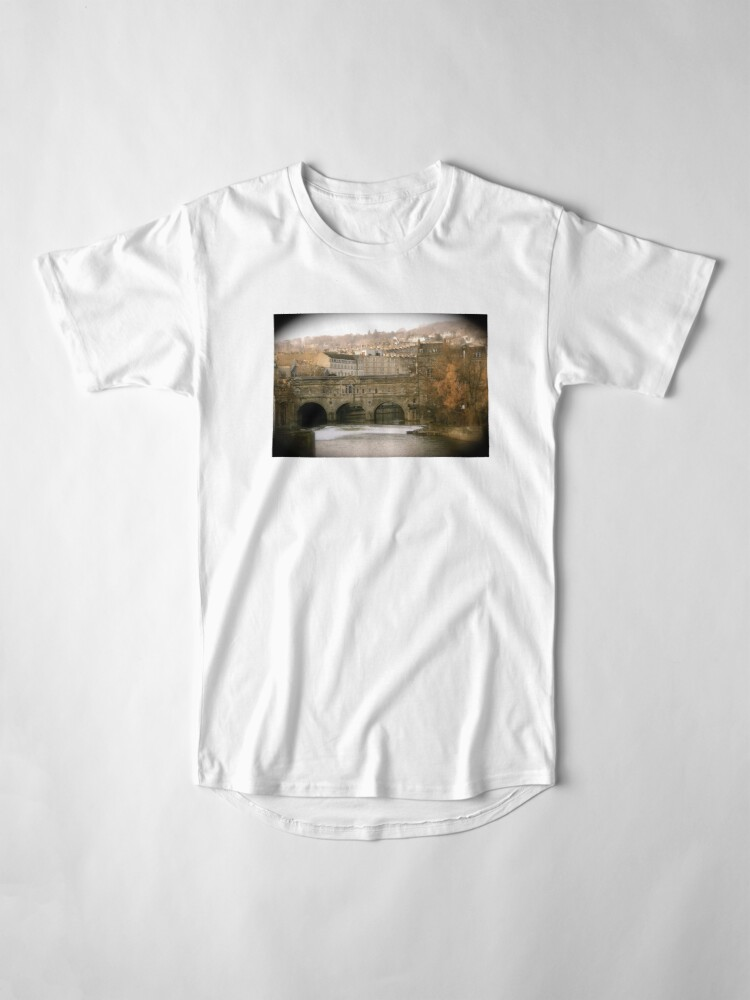Alternate view of Pulteney Bridge crossing the river Avon in Bath, Somerset County, England Long T-Shirt