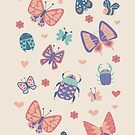 Love Bugs in Coral + Purple by latheandquill