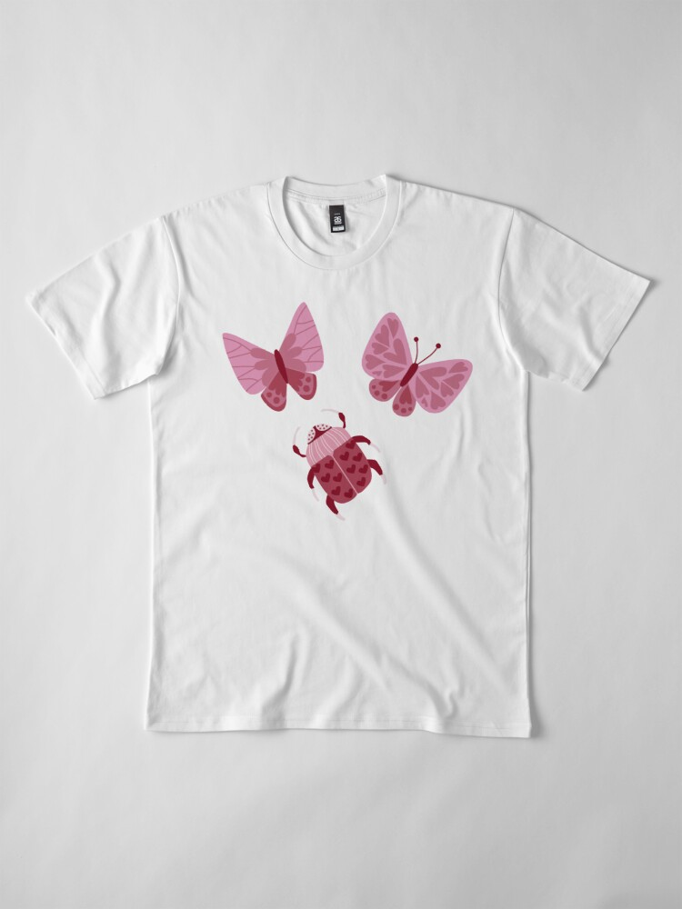 Alternate view of Love Bugs in Pink + Red Premium T-Shirt