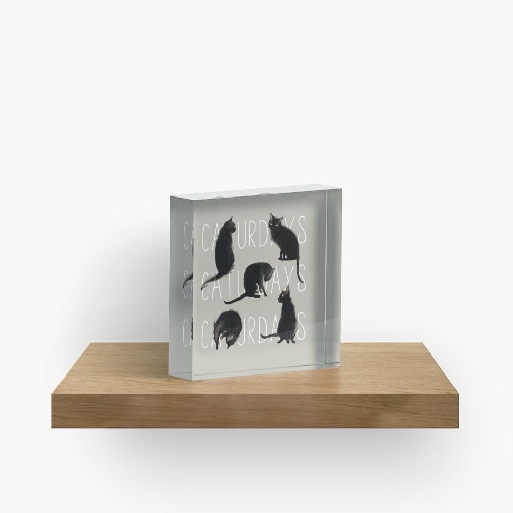 Caturdays - Black Cat Acrylic Block