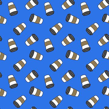 ditsy coffee cups on blue by B0red