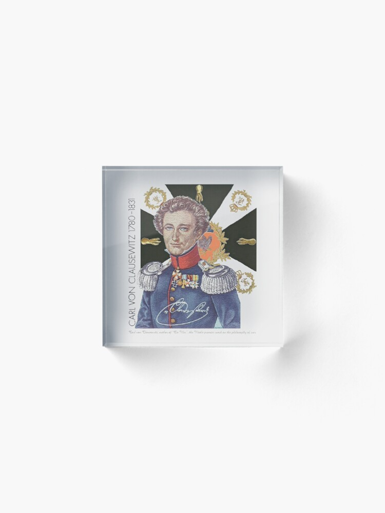 Alternate view of Carl von Clausewitz Portrait with Prussian Flag  Acrylic Block