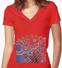 Abstract Digital Blue Bubbles Women's Fitted V-Neck T-Shirt