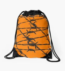 Barbed Wire [Orange] by Chillee Wilson Drawstring Bag