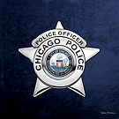 Chicago Police Department Badge - CPD Police Officer Star over Blue Velvet by Serge Averbukh