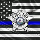 Chicago Police Department Badge - CPD Police Officer Star over The Thin Blue Line Flag by Serge Averbukh