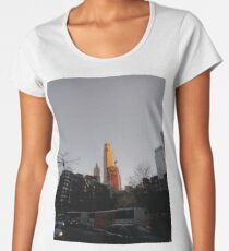 #NewYorkCity #NYC #NewYork #NY #Manhattan #city #architecture #street #travel #road #skyscraper #tower #outdoors #cityscape #sunset #sky #dusk #traffic #vertical #builtstructure #nopeople Women's Premium T-Shirt