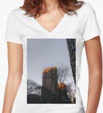 #NewYorkCity #NYC #NewYork #NY #Manhattan #skyscraper #tower #tree #architecture #outdoors #city #sky #environment #vertical #colorimage #nopeople #builtstructure #day #lightnaturalphenomenon #modern Women's Fitted V-Neck T-Shirt
