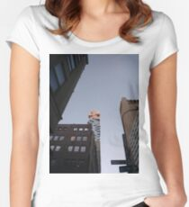 #NewYorkCity #NYC #NewYork #NY #Manhattan #business #city #architecture #sky #office #skyscraper #outdoors #technology #tower #modern #finance #cityscape #window #vertical #colorimage #nopeople Women's Fitted Scoop T-Shirt