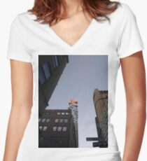 #NewYorkCity #NYC #NewYork #NY #Manhattan #business #city #architecture #sky #office #skyscraper #outdoors #technology #tower #modern #finance #cityscape #window #vertical #colorimage #nopeople Women's Fitted V-Neck T-Shirt