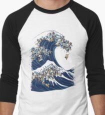 Camiseta ¾ bicolor para hombre La gran ola de Pugs Vanilla Sky