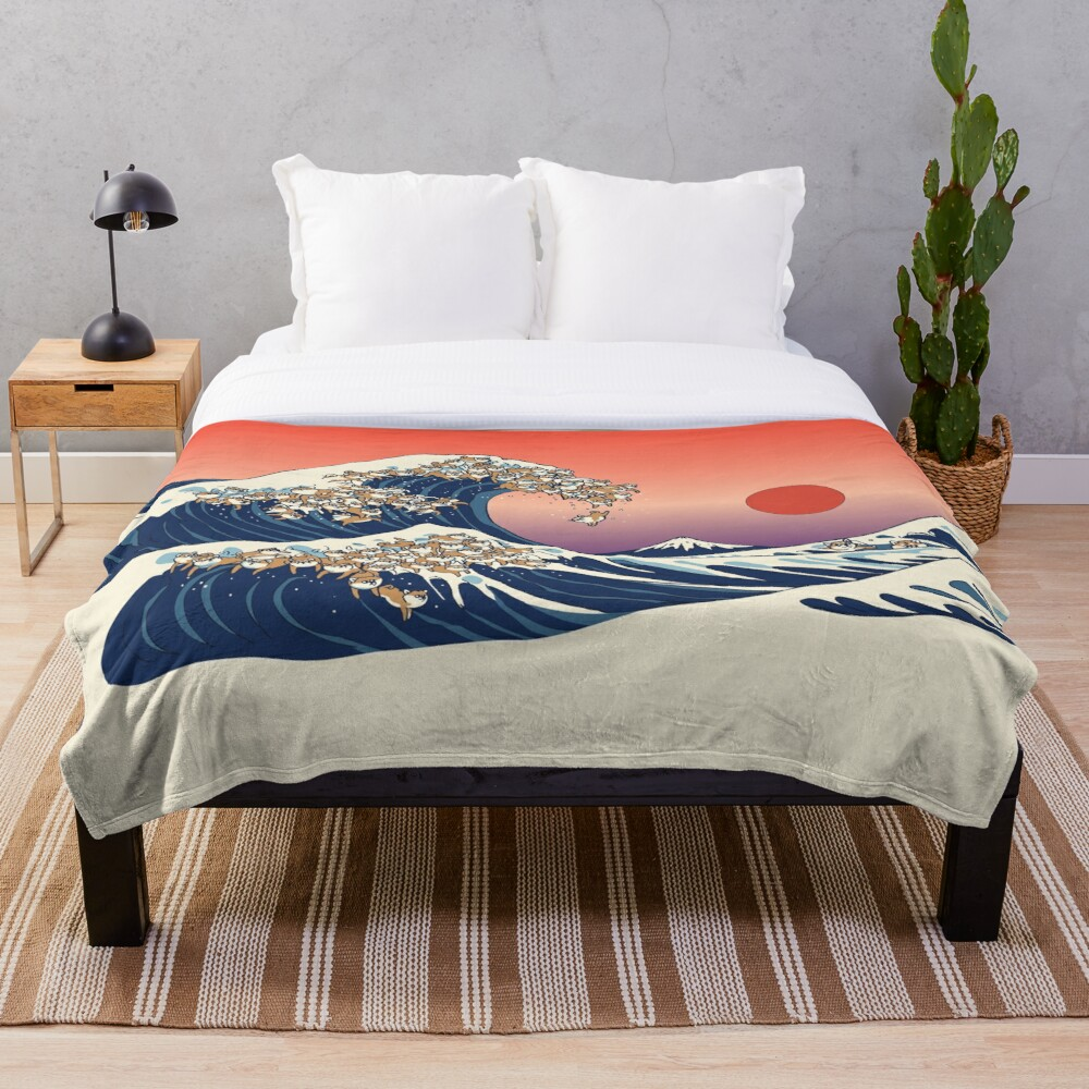 The Great Wave of Shiba Inu Throw Blanket