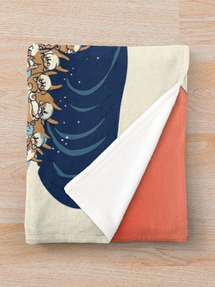 Alternate view of The Great Wave of Shiba Inu Throw Blanket