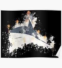 Shark perspective swimming watercolor painted Poster