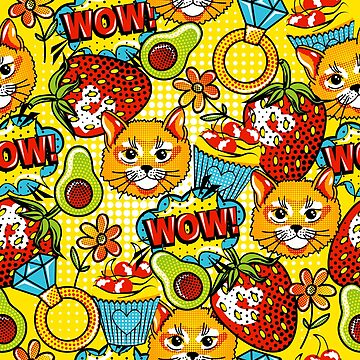 Kitty and Fruits in style pop art by InnaQueen
