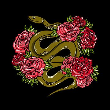 Big green snake and roses by InnaQueen